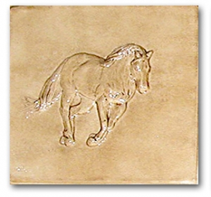 """Hoss� bas-relief ceramic tile � Old English"