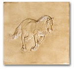 """Hoss"" bas-relief ceramic tile  Old English"