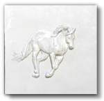 """Hoss"" 6"" Bas-relief horse  tile - Gloss White"