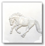 """Missy"" 6"" Bas-relief horse tile - White Gloss"