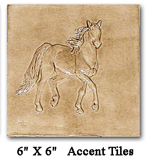 Six inch bas relief horse tile button