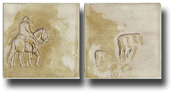 Four inch bas-relief cowboy horse art accent tiles