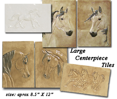 Equine Centerpiece Bas Relief Tiles