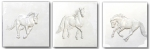 Six Inch Ceramic Horse Tile - Trio - Gloss White